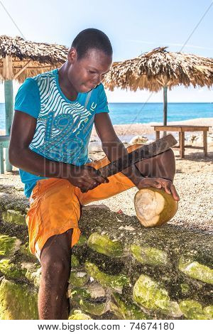 Young man cutting coconuts on Playa San Rafael, Dominican Republic