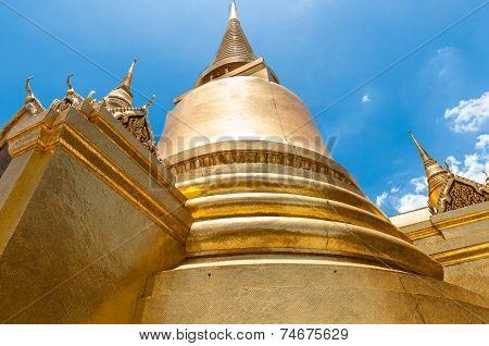 Golden Chedi Bangkok Kings Palace Ancient Temple In Thailand.
