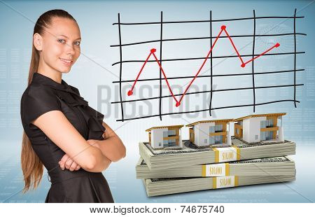 Businesswoman and dollar packs with row houses