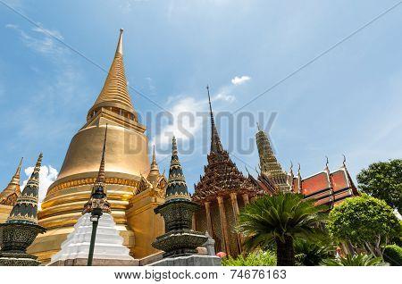 Bangkok Kings Palace Ancient Temple Golden Chedi In Thailand.