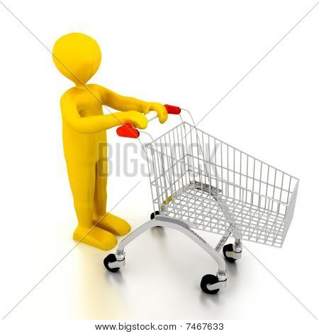 Person With Shoping Cart Over White