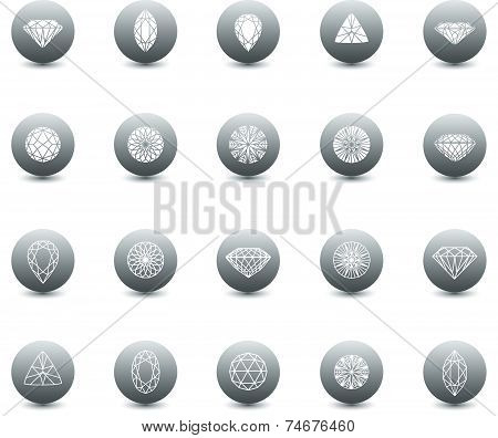 Vector set of diamond icons