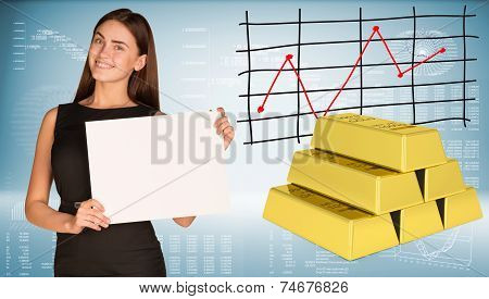 Businesswoman hold paper sheet. Gold bars
