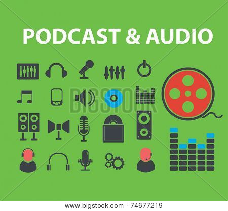 podcast, audio icons, signs, illustrations set, vector