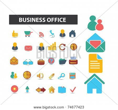 business office icons, signs, illustrations set, vector