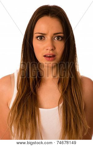 Frightened Woman - Preety Girl Gesturing Fear