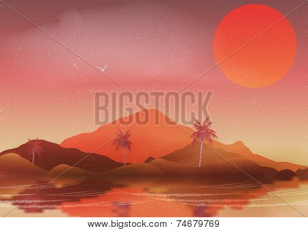 Oasis in a Hot Desert Landscape with Palm Trees and Reflection on Water - Vector Illustration