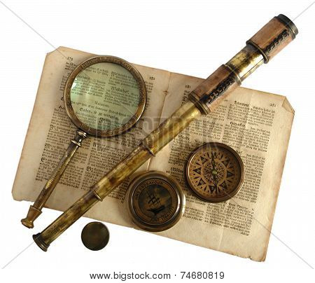 Vintage Telescope, Magnifying Glass, Compass And Paper