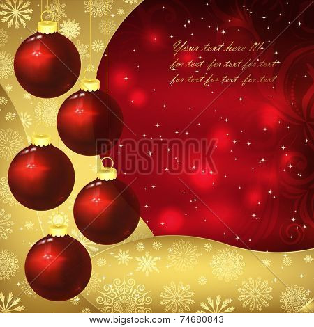 Glass balls, golden snowflakes and frosty patterns on a red background. Christmas background, vector illustration.