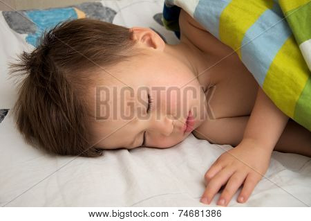 Boy Sleeping Under Blanket
