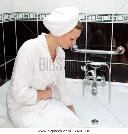 Attractive Young Woman Preparing Her Bubble Bath