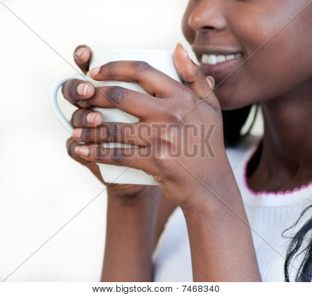 Radiant Woman Drinking A Coffee