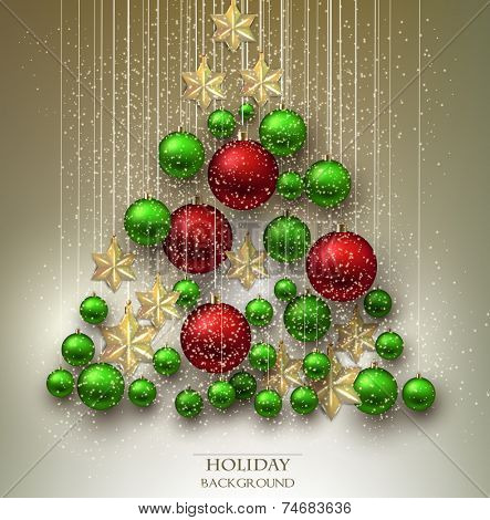 Christmas background with balls. Xmas tree made from colorful baubles and stars. Vector