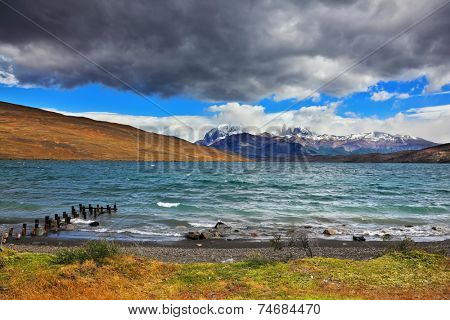 Boat dock on the lake at the Laguna Azul. National Park Torres del Paine in Patagonia, Chile