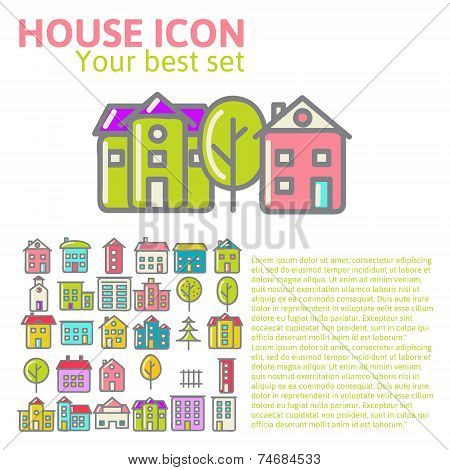 linear set of house icons