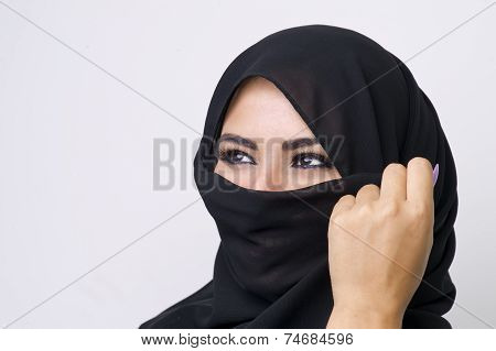 Beautiful girl wearing burqa closeup
