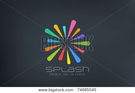 Star Splash Logo design abstract vector template. Colorful lines logotype entertainment concept icon.