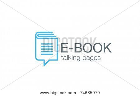 Digital Book Logo design vector template.  Electronic Library Education Logotype. Chat information icon line art.