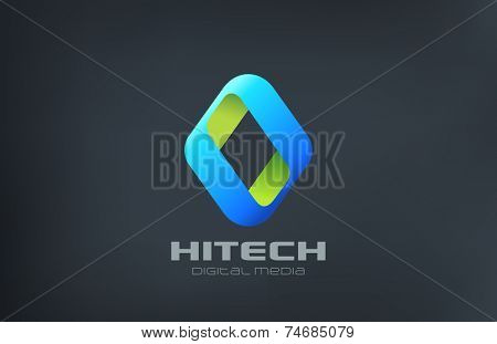 Rhombus Abstract Media Logo design vector template. Hitech icon. Technology ribbon logotype concept.