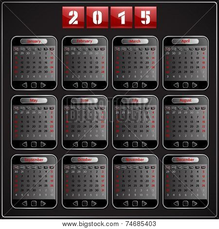Calendar 2015 vector Sunday first american week 12 months techno gadget