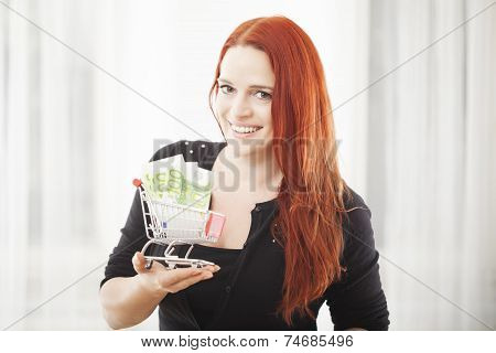 Girl With Mini Shopping Cart Trolley With Euro Bank Note