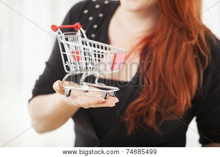 Young Girl With Mini Shopping Cart Trolley Close Up