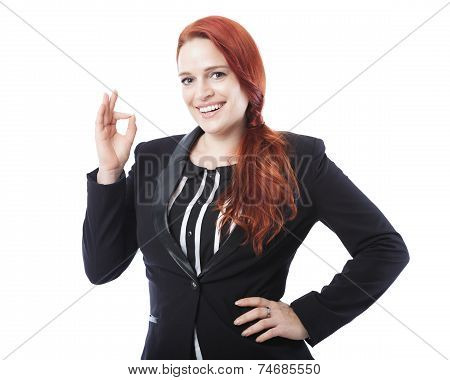Young Business Woman Sign Perfect Or Okay