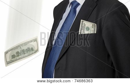 Financial Executive With Dollar Bill Isolated On White