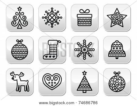 Christmas buttons with stroke - Xmas tree, present, reindeer