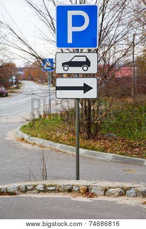 Traffic Sign On Road In The Autumn