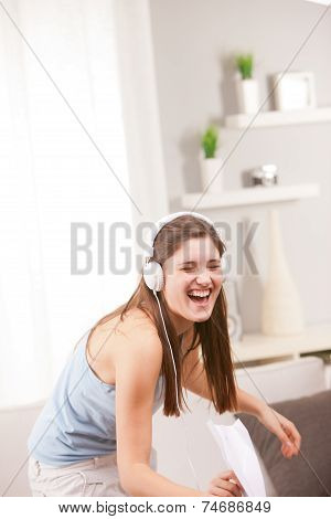 Girl Singing And Laughing In Her Living Room