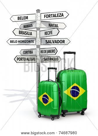 Travel concept. Suitcases and signpost what to visit in Brazil.  3d