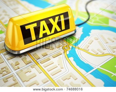 Taxi car sign on the city map. 3d