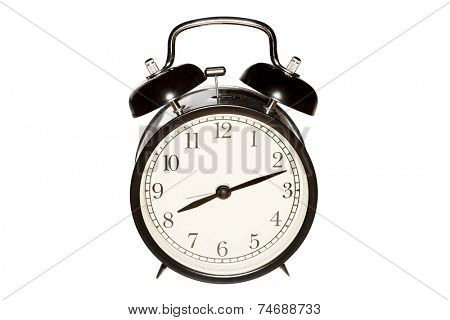 Mechanical alarm clock, isolated on the white.