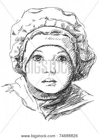 Child girl in beret, Portrait, Hand drawn illustration