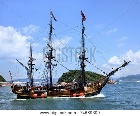 Historic Old Ship In The Ocean