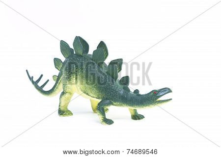 Stegosaurus dinosaur toy on white background