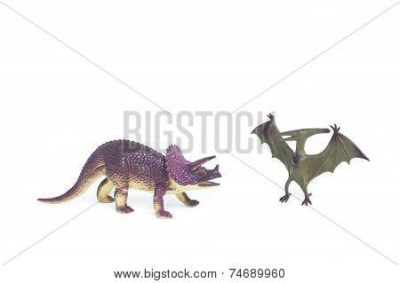 Triceratops and Pterosaur dinosaur toys