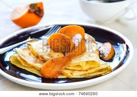 Crepe With Sauteed Persimmon