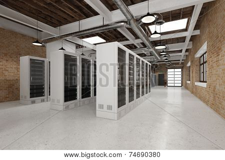 Hall with data center with server computer for cloud computing (3D Rendering)