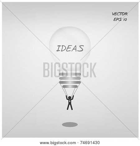 Businessman and business ideas, cartoon sign.
