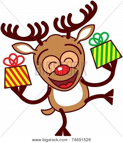 Happy Xmas reindeer bringing gifts