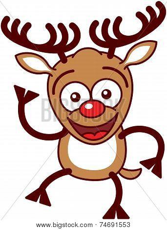 Nice Xmas reindeer waving animatedly