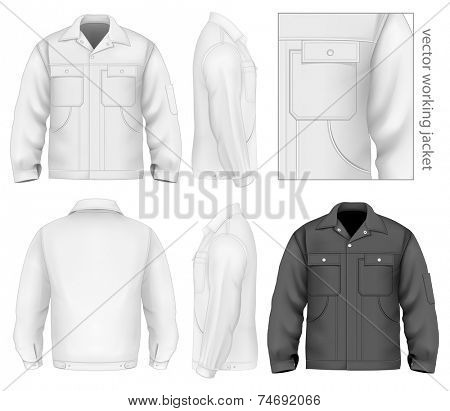 Men's working jacket (front, back and side views). Vector illustration contains gradient mesh.