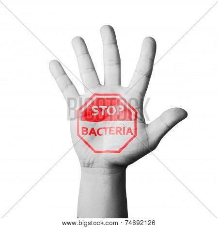 Open Hand Raised, Stop Bacteria Sign Painted
