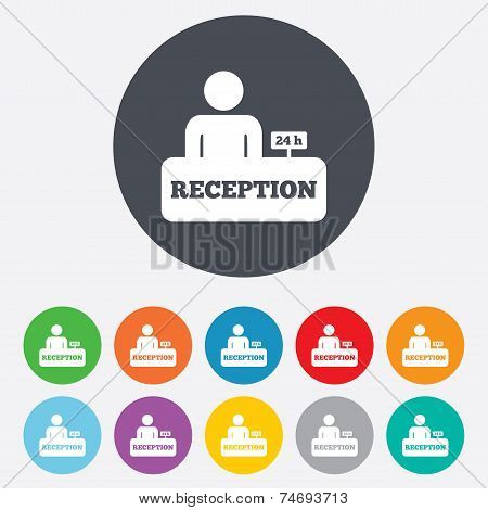 Reception sign icon. Hotel registration table.