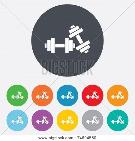 Dumbbells sign icon. Fitness sport symbol.