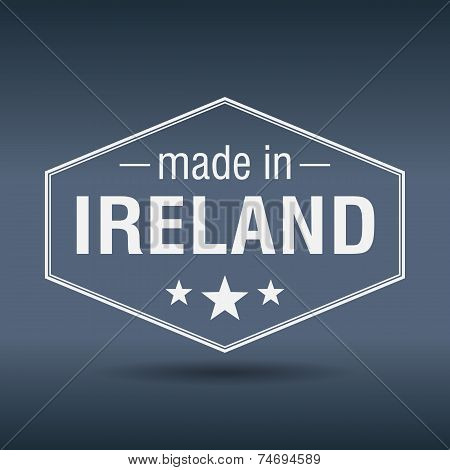 Made In Ireland Hexagonal White Vintage Label