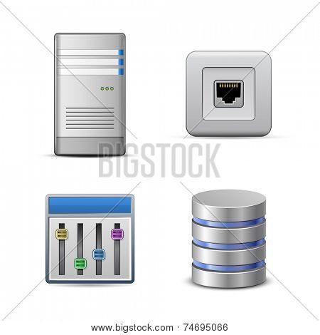 Server hosting icons. Vector illustration of computer server