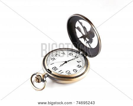 Pocket Watch With An Open Cover On A White Background.